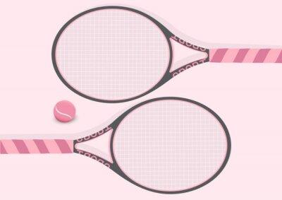 Tapeta Pastelowy różowy tenis rakieta i tenis piłka tło ilustracja