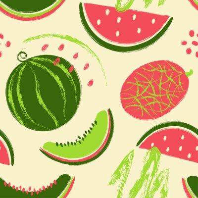 Tapeta Pędzel Grunge arbuz owoce wzór.