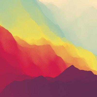 Tapeta Pejzaż górski. Górzystym. Mountain Design. Vector sylwetki gór tła. Zachód słońca. Może być stosowany do Bannera, ulotka, okładka, plakat, www Banery.