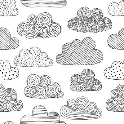 Tapeta Pi? Kny czarno-bia? Y bezszwowy wzór dymku chmur. projektowanie kart okolicznościowych i zaproszeń na wesele, urodziny, dzień matki i inne sezonowe święta jesieniowe.