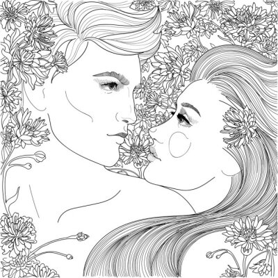 Tapeta Piękna para facet i dziewczyna wśród blooming cornflowers, w miłości wygląd