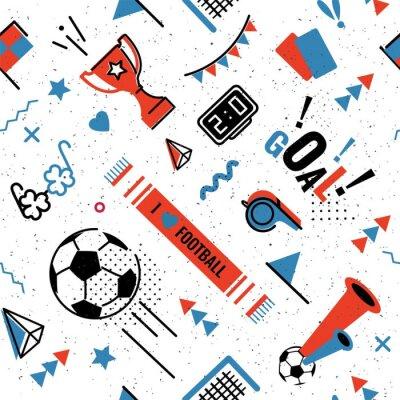 Tapeta Piłka nożna / piłka nożna streszczenie tło w stylu lat 80-tych memphis. Bez szwu memphis wzór dla posers i karty. Ilustracji wektorowych