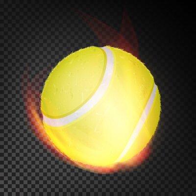 Tapeta Piłka tenisowa w ogniu wektor realistyczny. Płonąca piłka tenisowa. Przezroczyste tło