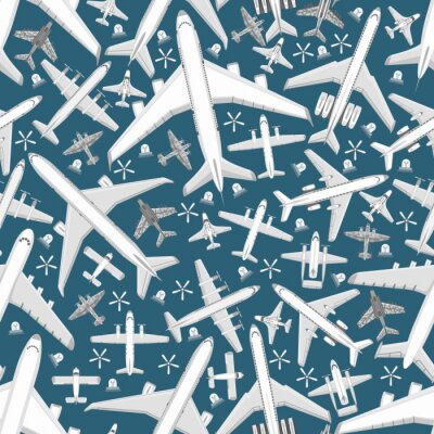 Tapeta Plane seamless pattern vector aircraft airplane jet flight transportation flying to airport illustration aviation backdrop of aeroplane airliner and airfreighter cargo background