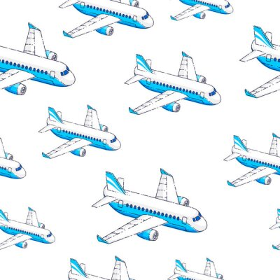 Tapeta Planes seamless background, airlines air travel concept, vector wallpaper or web site background.