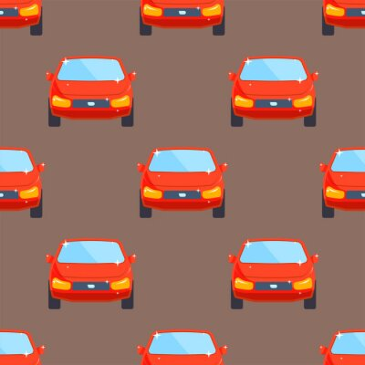 Tapeta Płaski czerwony samochód typu pojazdu projekt sedan bez szwu wektor wzór ogólny klasyczne auto biznesu ilustracji.