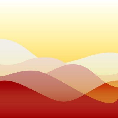 Tapeta Płaski wzór słońca fale lub wzgórza na krajobraz