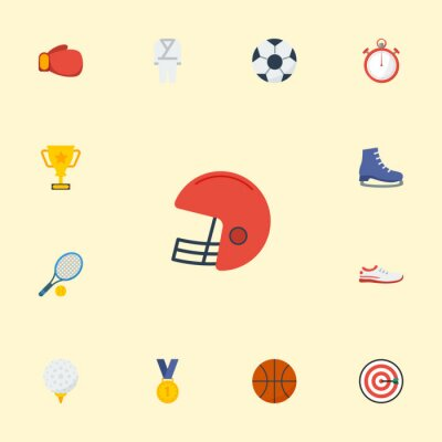 Tapeta Płaskie ikony nagrody, piłki, rugby i innych elementów wektorowych. Zestaw symboli sportu płaskich ikon obejmuje również rzutki, karate, obiekty startowe.