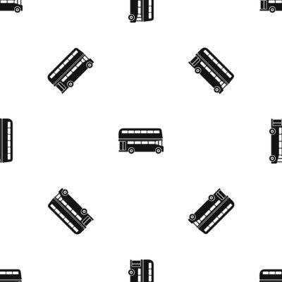 Tapeta Podwójny decker autobusowy wzór bezszwowy czarny