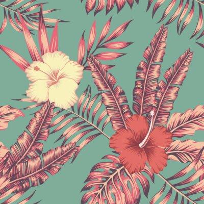 Tapeta Poślubnik opuszcza rocznika koloru tropikalnego bezszwowego wzór