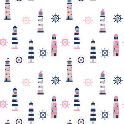 Tapeta Prosty minimalny wzór wektora z latarniami i sterem w kolorach niebieskim, szarym i różowym do odzieży, opakowań i wzorów letnich