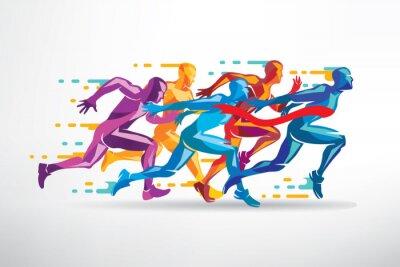 Tapeta prowadzenie ludzi zestaw stylizowanych sylwetek, konkurencji i wykończenia