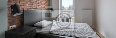 Tapeta Przemysłowa Styl Sypialnia Z łóżkiem