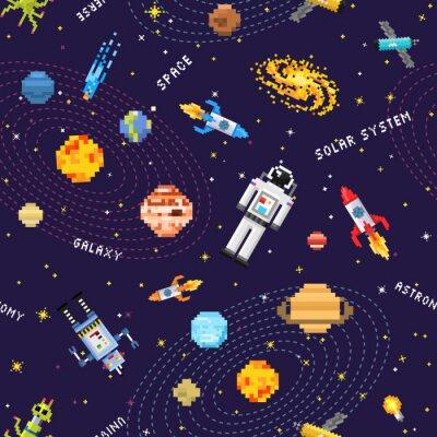 Tapeta przestrzeń bezszwowe tło wzór, kosmita kosmita, rakieta robota i kostki satelity planet Układu Słonecznego pixel art, cyfrowy styl gry vintage. Rtęć, Wenus, Ziemia, Mars, Jowisz, Saturn.