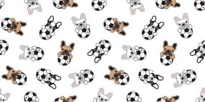 Tapeta Psiej piłki nożnej bezszwowego deseniowego francuskiego buldoga footbal płytki tła kreskówki powtórki wektorowa tapeta odizolowywająca