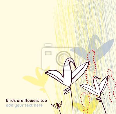 Ptaki Jak Kwiaty Zaproszenie Pozdrowienia Szablon Projektu