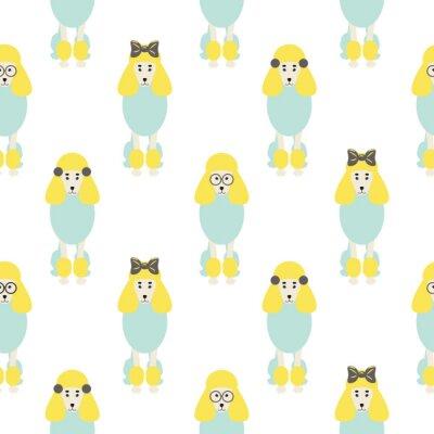 Tapeta Pudel cute niebieski i żółty bez szwu wektor hipster pop wzorca. Lekkie pastelowe psy z łukiem i okrągłe tło do drukowania tkanin tekstylnych i tapet.