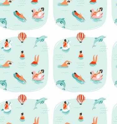 Tapeta R? Cznie rysowane wektora streszczenie czas letni zabawa bezszwowe wzór zp? Ywania szcz ?? liwy ludzi w wodzie morskiej z skoków delfinów wyizolowanych na niebieskim tle
