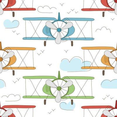 Tapeta R? Cznie rysowane wektora zabytkowe bezszwowych wzór z cute little samolotów w przestrzeni powietrznej z chmurami. Tło marzeń przygody. Childish ilustracji. Tapeta dla dzieci.