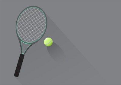 Tapeta Rakieta tenisowa i ilustracja piłka tenisowa tle