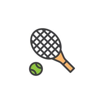 Tapeta Rakieta tenisowa i piłka wypełnione zarys ikona, linia wektor znak, liniowy kolorowy piktogram na białym tle. Symbol, ilustracja logo. Doskonała grafika wektorowa pikseli