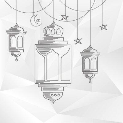 Tapeta Ramadan kareem dekoracji z linii sztuki stylu i abstrakcyjna tła