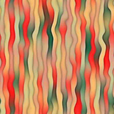 Tapeta Raster Seamless zniekształcony Falista Gadient retro paski wzór w czerwonym zielonym i Tan Colors