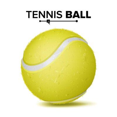 Tapeta Realistyczne wektor piłka tenisowa. Klasyczna okrągła żółta piłka. Symbol gry sportowej. Ilustracja