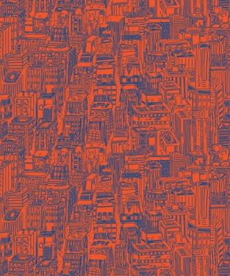 Tapeta Ręcznie rysowane bez szwu deseń z wieżowców. Ręcznie rysowane vintage, ilustracja z miasta Nowy Jork NYC, miasta z widokiem architektury, drapacze chmur, Megapolis, budynków śródmieścia.
