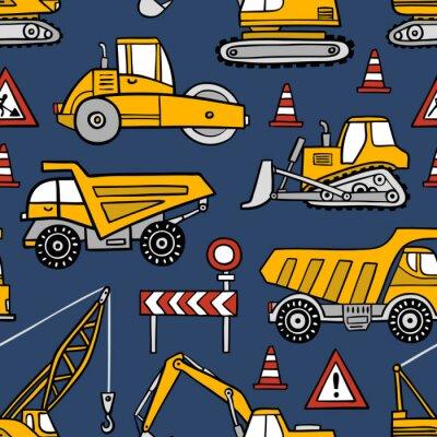 Tapeta Ręcznie rysowane budowy samochodów bezszwowe wektor wzór na ciemnym niebieskim tle.