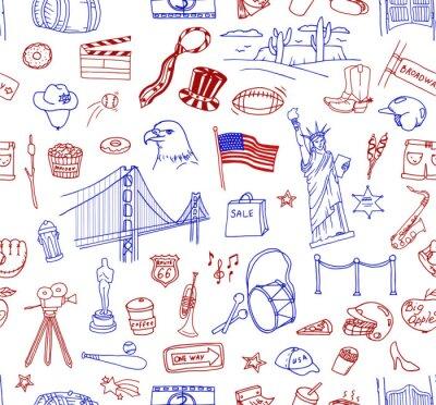 Tapeta Ręcznie rysowane doodle zbiór różnych amerykańskich obiektów, budynków i znaki. Linia sztuki ikony wzorca.
