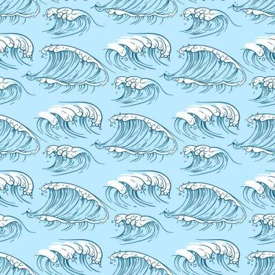 Tapeta Ręcznie rysowane fale oceanu wzór
