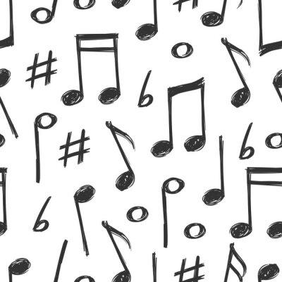 Tapeta Ręcznie rysowane muzyka notatki bez szwu wzór