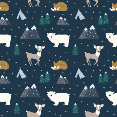 Tapeta Ręcznie rysowane skandynawskie zwierzęta w lesie, wzór. Skandynawskie motywy tradycyjne. Ilustracji wektorowych.