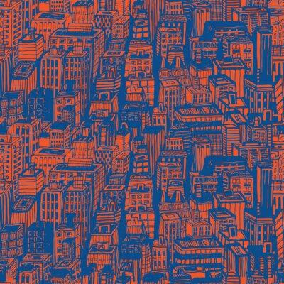 Tapeta Ręcznie rysowane szwu z wielkim Nowym Jorku. Wektor vintage, ilustracja z NYC architektury, drapacze chmur, Megapolis, budynków śródmieścia.
