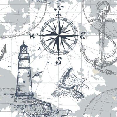 Tapeta Ręcznie rysowane wektor bezszwowe morze mapę z kompasem, latarnia morska, kotwica i muszle. Idealny do tkanin, tapet i druków.