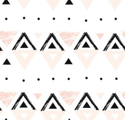 Tapeta Ręcznie rysowane wektor streszczenie nowoczesny skład geometryczny wzór w czarne, białe i pastelowe kolory różowy z odręczne szorstki tekstura na białym tle