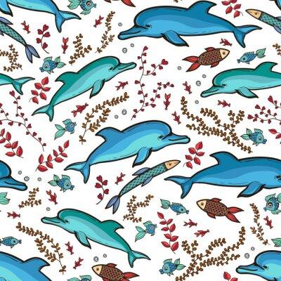 Tapeta Ręcznie rysowane wzór delfin ryba