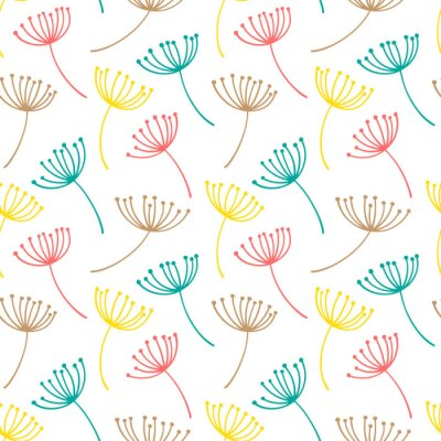 Tapeta Ręcznie rysowane wzór z ozdobny nasiona mniszka lekarskiego. Stylizowane kolorowe gałęzie. Lato wiosny tło, natury kolekcja. Ilustracji wektorowych