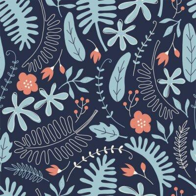 Tapeta Ręcznie rysowane wzór z tropikalnych liści i kwiatów. Idealny do tkanin dziecięcych, tkanin, tapet dziecięcych.