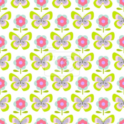 Tapeta Retro Motyl I Kwiaty
