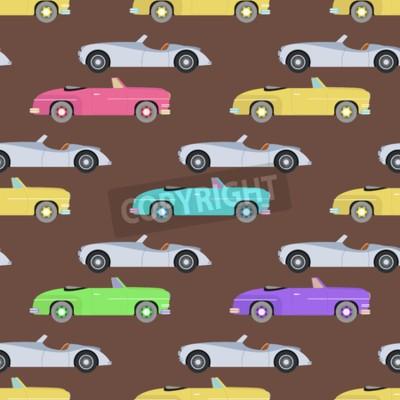 Tapeta Retro samochodowa bezszwowa deseniowa wektorowa ilustracja.