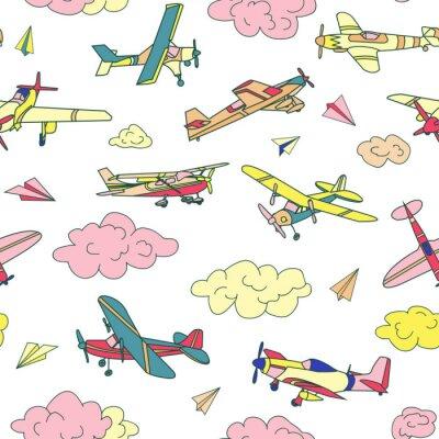 Tapeta Retro samoloty w różnych modnych kolorach wzór. Płaska konstrukcja ilustracja. Dobre kolory. Bardzo łatwa do edycji.