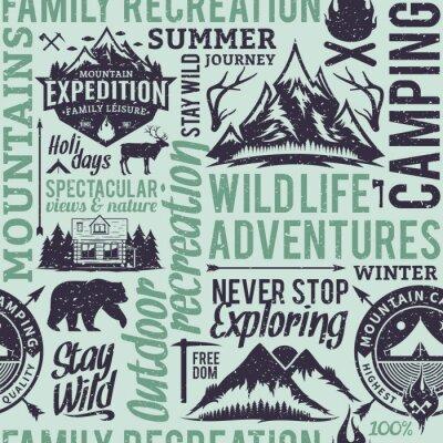 Tapeta Retro stylizuj? Cy typograficzny wektora górskich i odkryty przygody bezszwowe wzór lub t? O