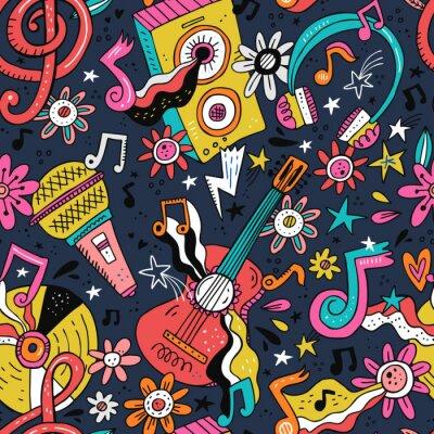 Tapeta Rock n roll doodle vector seamless pattern
