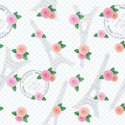Tapeta Romantyczny bez szwu deseń z wieży Eiffla, pieczęci i róże. Do druku i sieci.