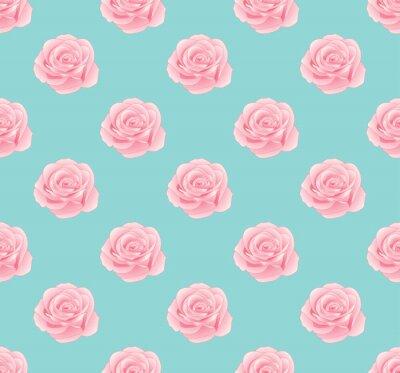 Tapeta Różowa róża bez szwu na niebieskim tle mennicy