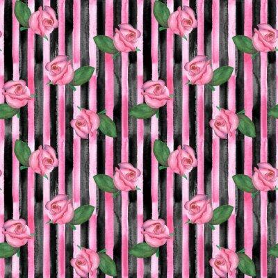 Tapeta Różowa róża pąki bezszwowe wzór