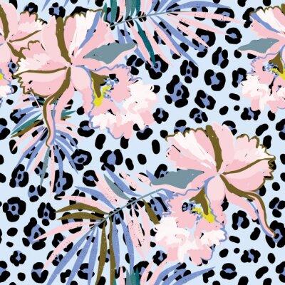 Tapeta Różowe kwiaty orchidei z liści palmowych na tle leopard skóry. Wektor bez szwu z tropikalnych roślin i zwierząt drukuj. Serenity i różowy.