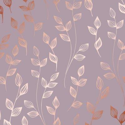 Tapeta Różowe złoto. Elegancki dekoracyjny kwiatowy wzór do drukowania